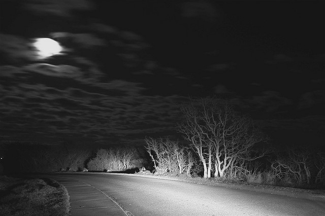 black and white, dark, light, moon, photography, road