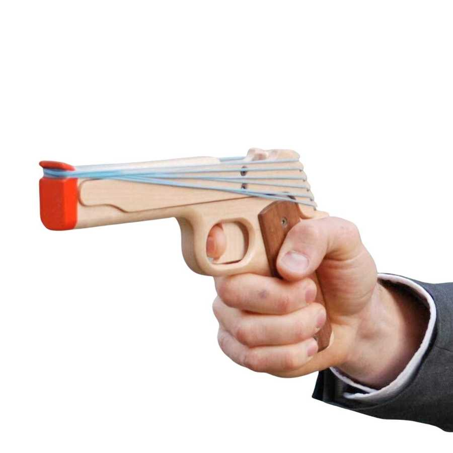Semi-Automatic Six Shooter Rubber Band Gun In Hand - Perfect Birthday Gift For Boss