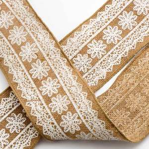 100mm Floral Print Hessian Ribbon