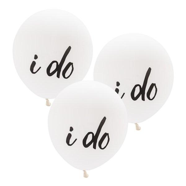 """17"""" White """"I Do"""" Wedding Balloons"""