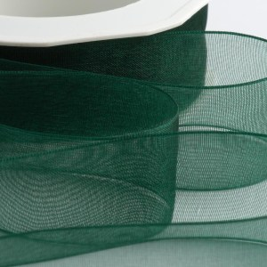 7mm Dark Green Organza Ribbon 50M