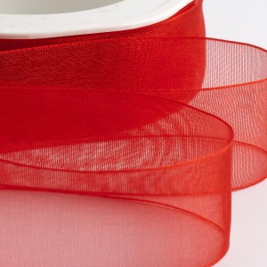 7mm Red Organza Ribbon 50M