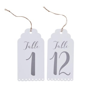 White Luggage Tag Table Numbers 1-12