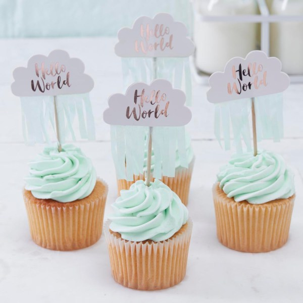 Rose Gold & Cloud Baby Shower Cupcake Toppers