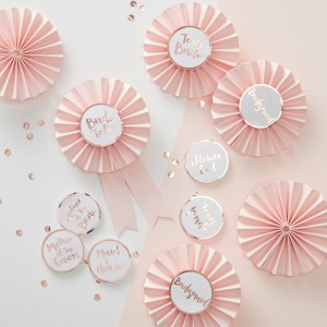 Pink & Rose Gold Hen Party Badges
