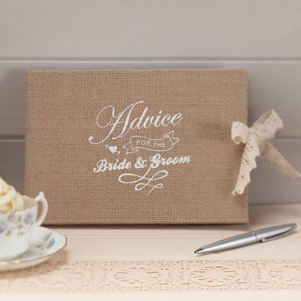 Advice for the Bride & Groom Hessian Burlap Book