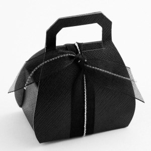 Black Silk Handbag Favour Box