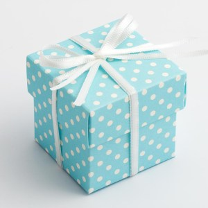 Blue Polka Dot Square Favour Box with Lid