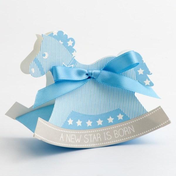 Blue Rocking Horse Favour Box