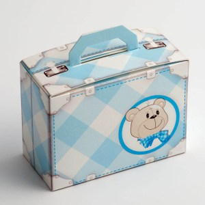 Blue Teddy Bear Baby Suitcase Favour Box