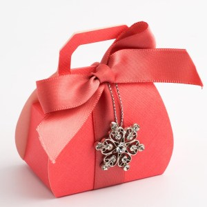 Coral Pink Silk Handbag Favour Box