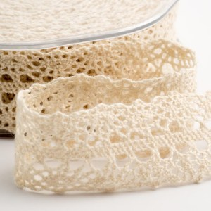 Cream Cotton Border Lace Ribbon 22mm x 10M