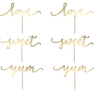 Elegant Gold Cupcake Toppers