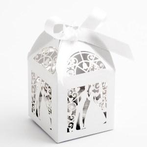 Filigree Bride & Groom Favour Box - Pearlised White