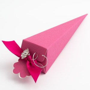 Fuchsia Pink Silk Cone Favour Box