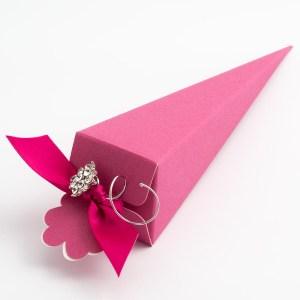 Fuchsia Pink Silk Cone Favour Box