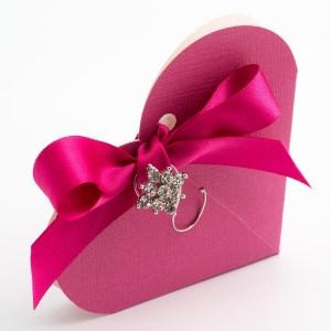 Fuchsia Pink Silk Heart Favour Box