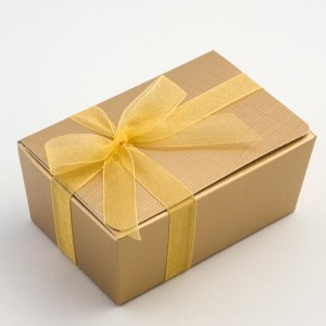 Gold Ballotin Favour Box 115mm x 75mm x 50mm
