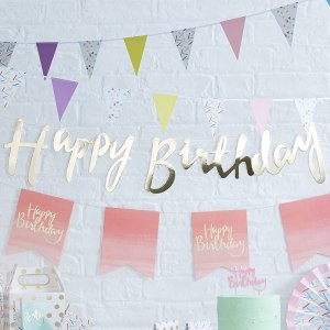 Gold Happy Birthday Bunting