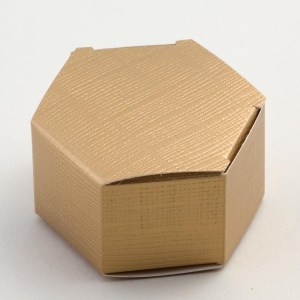 Gold Silk Hexagonal Favour Box