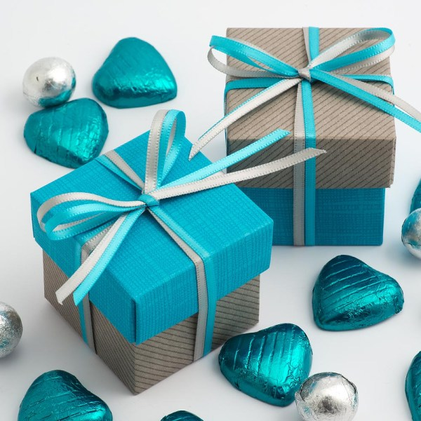 Grey Linea & Turquoise Silk Square Box and Lid