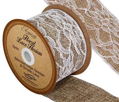 Hessian & Floral Lace Ribbon 50mm x 5yards