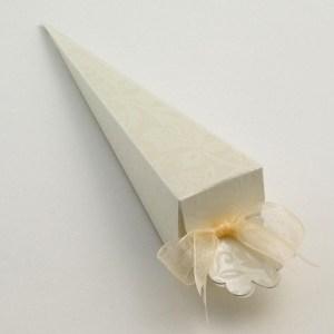 Ivory Diamante Cone Favour Box