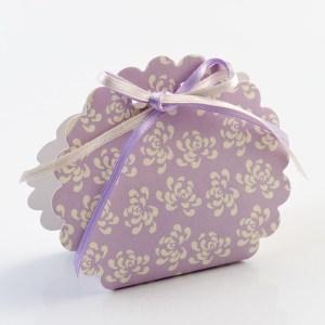 Mauve Vintage Pattern Scalloped Edge Favour Box