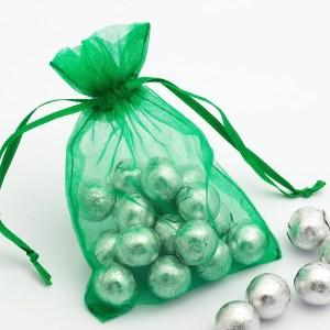 Medium Bright Emerald Organza Favour Bag
