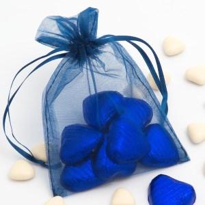 Medium Dark Blue Organza Favour Bag