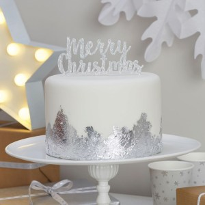 Merry Christmas Silver Cake Topper