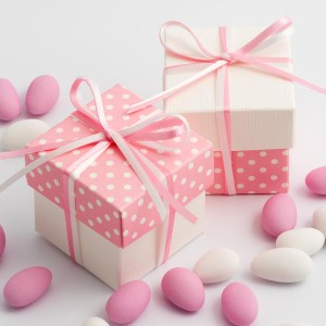Pink Polka Dot & White Silk Square Box and Lid