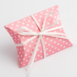 Pink Polka Dot Pillow Favour Box