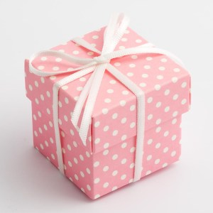 Pink Polka Dot Square Favour Box with Lid