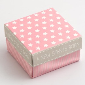 Pink Stars & Stripes Square Favour Box with Lid