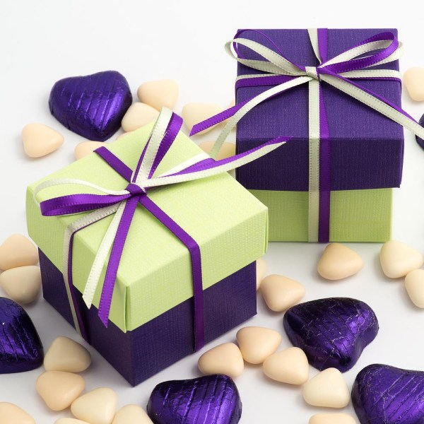 Purple & Light Green Silk Two Tone Square Box and Lid