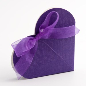 Purple Silk Heart Favour Box