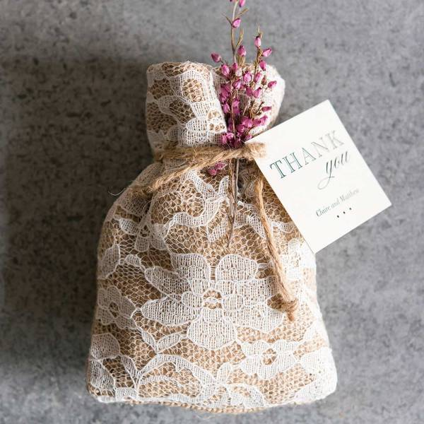 Rustic Chic Burlap And Lace Favour Bags x 12