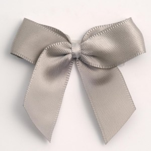 Silver Satin Bows 12 Pack
