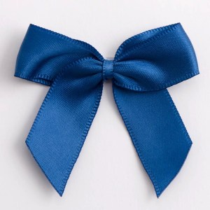 Smoke Blue Satin Bows 12 Pack