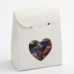 White Linen Sacchetto with Heart Shaped Window Favour Box
