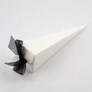White Silk Cone Favour Box