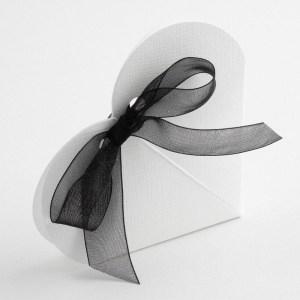 White Silk Heart Favour Box