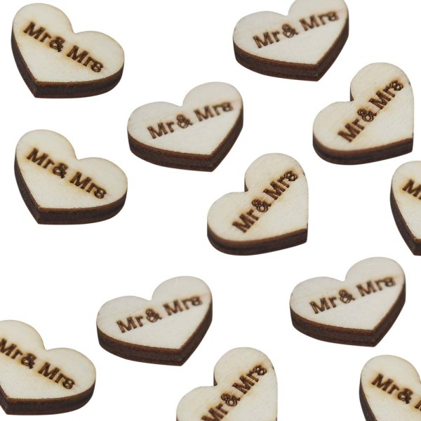"""Wooden Heart """"Mr and Mrs"""" Confetti"""