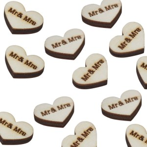 "Wooden Heart ""Mr and Mrs"" Confetti"