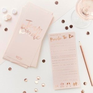 Pink & Rose Gold Advice For The Bride To Be Cards
