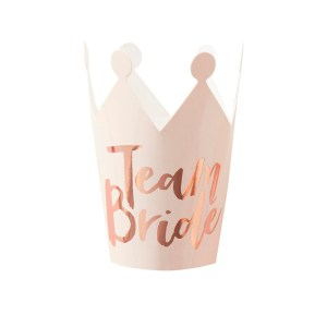 Pink And Rose Gold Foiled Team Bride Party Crowns