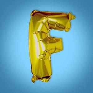Gold Foil Letter 'F' Balloon