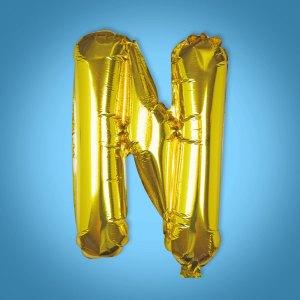 Gold Foil Letter 'N' Balloon