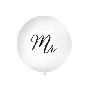 1 Metre White 'Mr' Giant Balloons